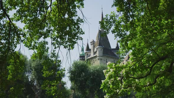 Cover Image for Vajdahunyad Castle tower seen behind trees