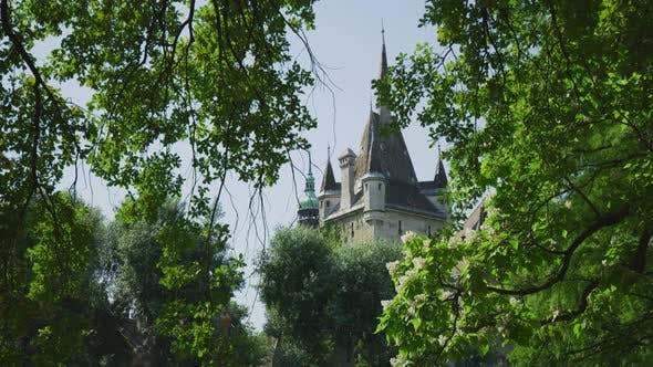 Thumbnail for Vajdahunyad Castle tower seen behind trees