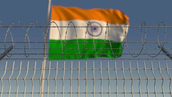 Thumbnail for Barbed Wire Against Waving Flag of India