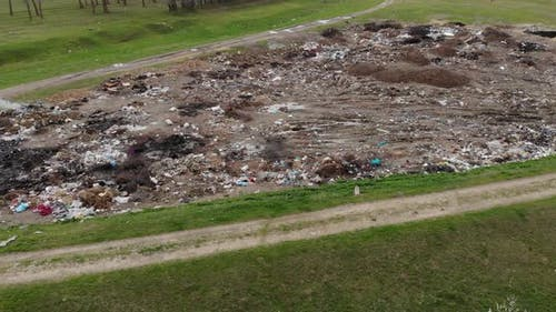 Large Garbage Landfill At Forest Countryside