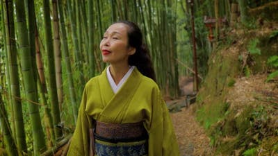 Japanese woman in Kyoto Japan