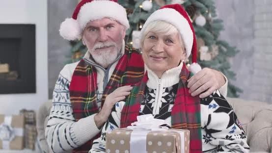 Thumbnail for Nahaufnahme älterer kaukasischer Paar sitzt neben Weihnachtsbaum mit Geschenken, Blick auf die Kamera