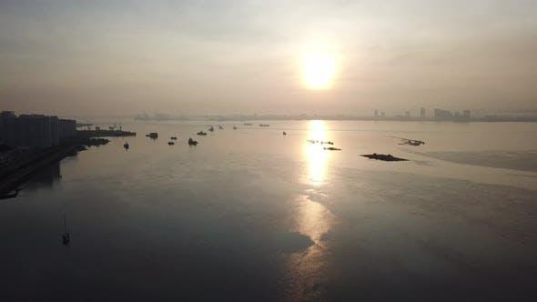 Aerial sunrise over sea