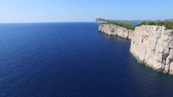 Aerial view of dangerous cliffs in Mediterranean sea
