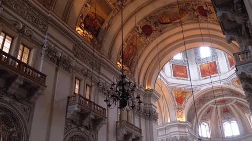 Cathedral in Salzburg, Austria. Baroque Cathedral of Roman Catholic Archdiocese, Indoor