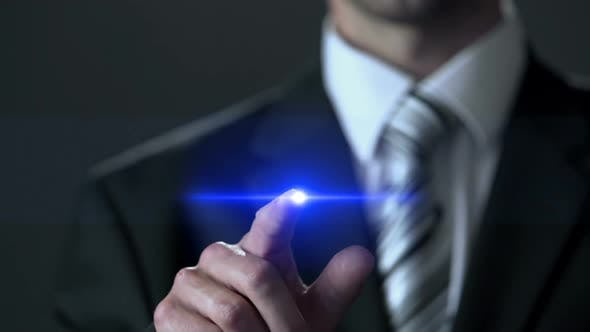 Cover Image for Career Businessman Wearing Suit Pressing Button on Screen Hologram Success