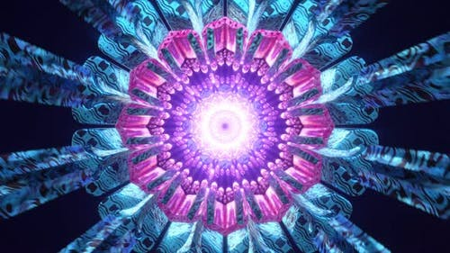 Psychedelic Mandala Kaleidoscope New Age Virtual Digital Oriental Background 3d Seamless Loop Vj Art