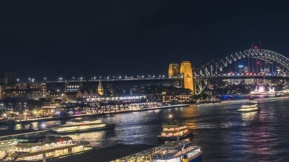 Thumbnail for Sydney Harbour Bridge timelapse at night