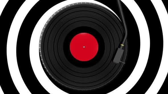 Vinyl-Disc-Schallplatte dreht sich auf abstraktem