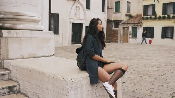 Thumbnail for Attractive Girl on Square Streets of Venice