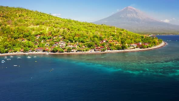 Thumbnail for View of the Mountain Agung Volcano and Clear Azure Sea Bay in Jemeluk Bay, Amed Beach, Bali