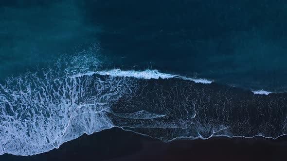 Thumbnail for Top View of the Desert Black Beach on the Atlantic Ocean