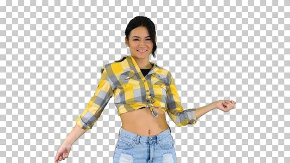 Thumbnail for Girl in square shirt and jeans shorts sneakers, dancing, Alpha