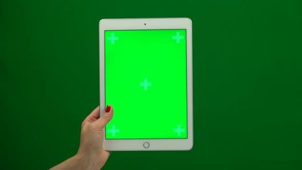 Laptop Computer Hand on a Green Screen
