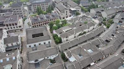 Buildings of Xijin Ferry in Zhenjiang, China Aerial