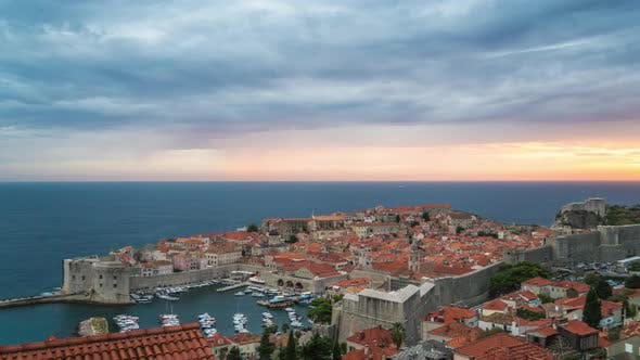 Thumbnail for Sunset Timelapse Over the Adriatic Sea in Dubrovnik Croatia