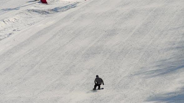 Snowboarding in the Winter Resort