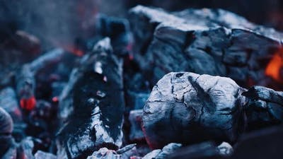 Dry wood logs burning in slow motion. Smoldering and burning firewood with ash.
