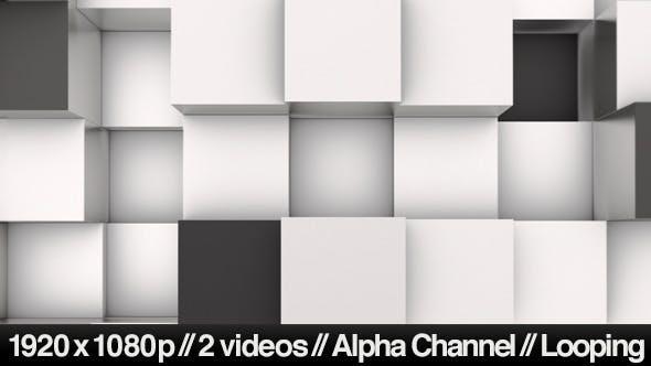 Thumbnail for 3D Animation Background of Black & White Blocks