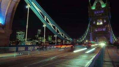 Tower Bridge Traffic Timelapse Wide
