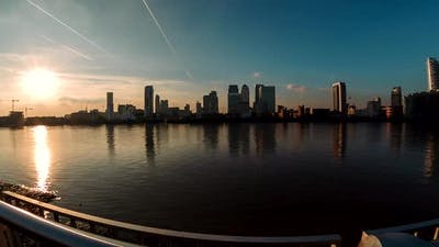Panoramic fisheye view of the Canary Wharf financial district in London, England, UK