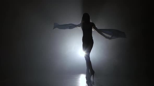 Thumbnail for Woman Sexually Dancing on Dark Background Studio with Smoke