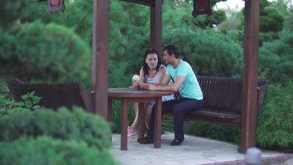 Thumbnail for Guy and a Girl Are Sitting in the Park