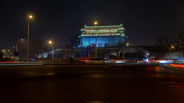 Thumbnail for Chinese Building Near Wide Road in Beijing City Timelapse