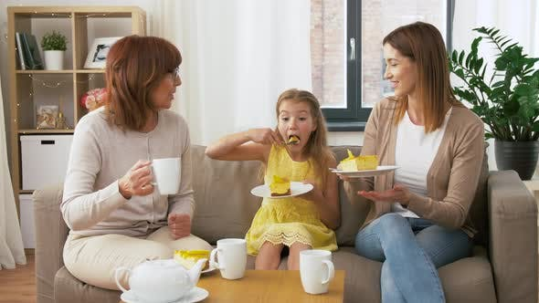 Thumbnail for Mother, Daughter and Grandmother Eating Cake