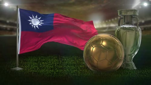 Taiwan Flag With Football And Cup Background Loop