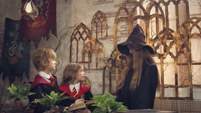 Little Wizard School Students are Learning with Their Teacher in Class Fantasy