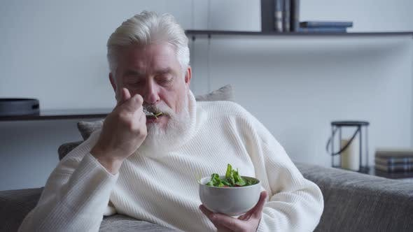 Thumbnail for Elderly Man Feel Happy Enjoy Eating Diet Food Fresh Salad on Sofa