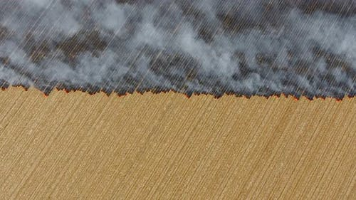 Burning Stubble With Symmetrical Straight Line