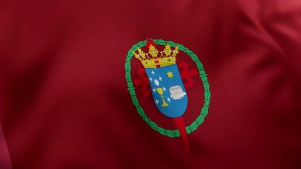 Santiago de Compostela City Flag (Spain) - 4K