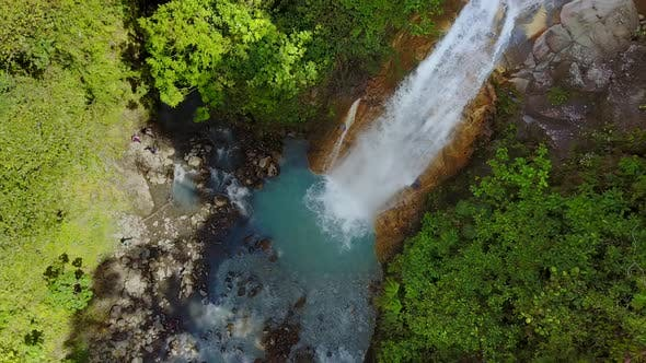 Aerial view of Catarata del Toro waterfall in Costa Rica.