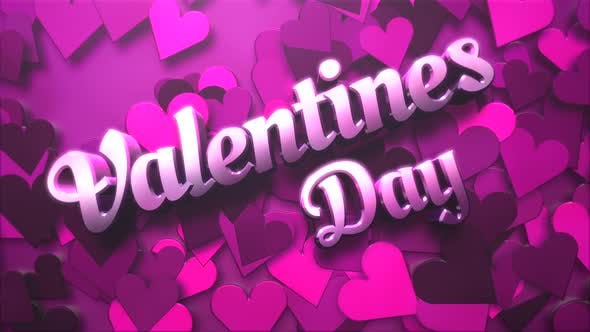 Thumbnail for Animated closeup Valentine Day text and motion small pink romantic heart on Valentine day background