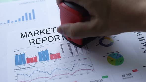 Thumbnail for Marketing Report Rejected, Hand Stamping Seal on Official Document, Statistics