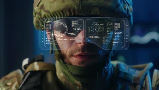 Soldier Using High-tech Sunglasses