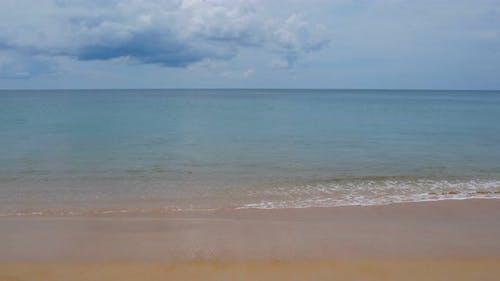 Sea sand beach and blue sky