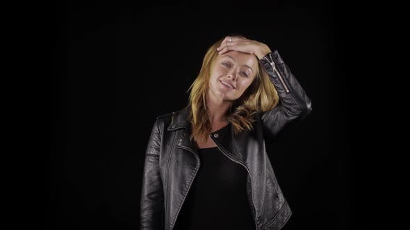 Thumbnail for Sexy woman in a leather jacket