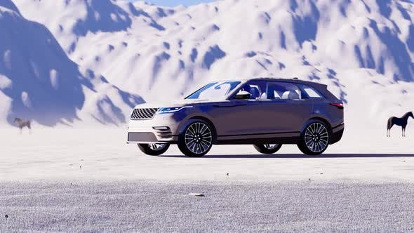 Thumbnail for Rapidly Advancing White Luxury Off-Road Vehicle in Snow Covered Mountain Area