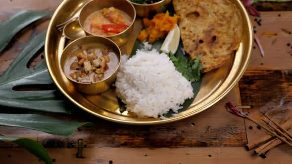 Thumbnail for Assorted Indian Sri-lanka Food Set on Wooden Background. Dishes and Appetisers of Indeed Cuisine