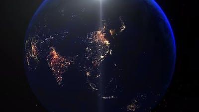 Realistic Earth Night Zoom Out Clouds China Guangzhou Hong Kong