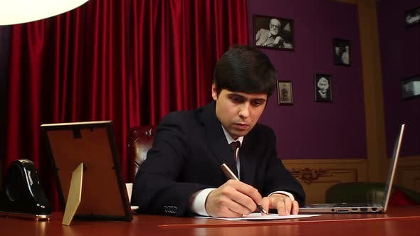 Thumbnail for Businessman Working in Office, Handwriting, Signing Papers