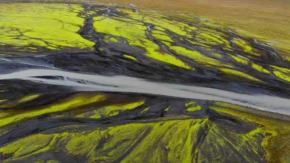 Thumbnail for Aerial View of Glacier River Delta in Iceland