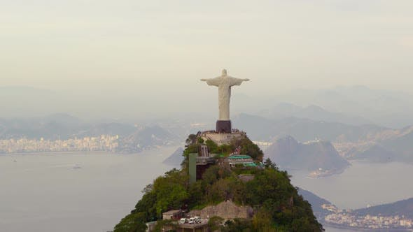 Tracking footage of Rios Christ Redentor and bay