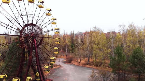 Chernobyl Exclusion Zone. Pripyat. Aerial. Abandoned Ferris Wheel.