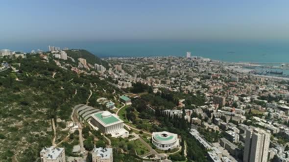 Aerial of Mount Carmel and the city of Haifa
