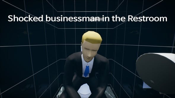 Shocked Businessman in the Restroom 4K