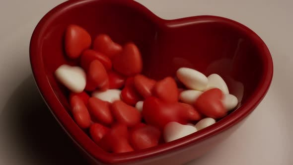 Rotating stock footage shot of Valentine's Day candy - VALENTINES
